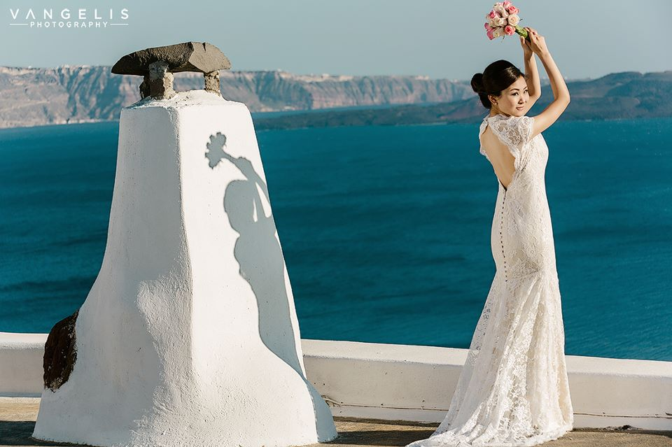 santorini asian makeup bride